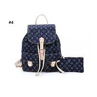 Louis vuitton fashionable casual lady backpacks are hot sellers of denim printed backpacks #4