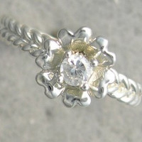 New Genuine Diamond Floral Promise Solitaire Ring 10kt White / Yellow Gold SIZE 3-10