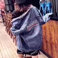 """Balenciaga"" Women Fashion Retro Letter Wave Stripe Long Sleeve Denim Cardigan Small Coat"
