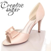 Creativesugarsatin D'orsay bow pearl open toe woman shoes bridal wedding party evening dress separate pumps lady heels champagne