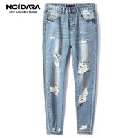 No.1 dara Men Stretch Destroyed Ripped Design Fashion Ankle Zipper Skinny Jeans For Men jeans homme ripped jeans for men