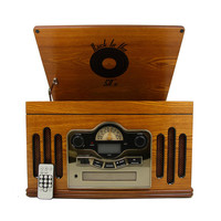 Back to the 50's Antique Wooden 3 Speed Turntable with CD Player - Reconditioned
