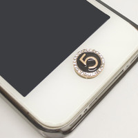 1PC Bling Crystal Number 5 Jewel iPhone Home Button Sticker Charm for iPhone 4,4s,4g,5,5c Cell Phone Charm Gift for Him or Her