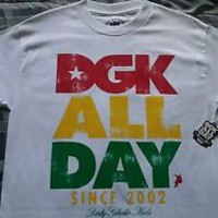 NWT Mens DGK Rasta Crew Neck White Tee Shirt size Medium
