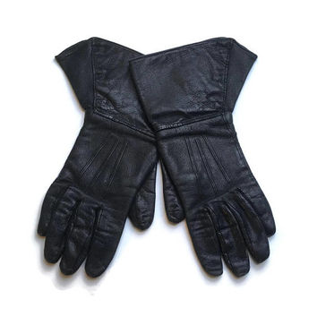 1930's Black Leather Driving Gloves | Leather Driving Gloves Small | Vintage Gloves | Biker | Steampunk