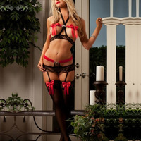 Women Sexy Lace Lingerie Sleepwear Intimates Babydoll Stockings Gstring = 1705708804