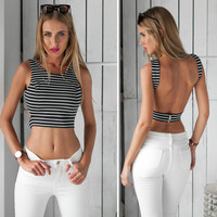 Stripe Sleeveless Open-Back Top