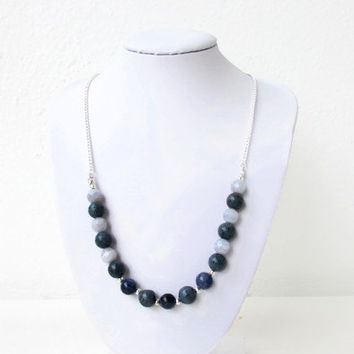 Blue gemstone necklace, semi precious gemstone necklace, Lapis Lazuli and sodalite, adjustable necklace, gift for her, Handmade in the UK