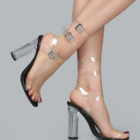Clear Lucite Ankle Wrap Sandals