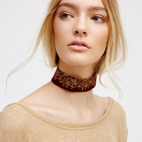 Free People Embroidered Velvet Choker