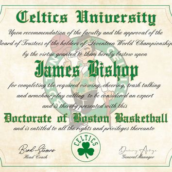 "Boston Celtics Ultimate Basketball Fan Personalized Diploma - 8.5"" x 11"""