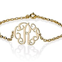 Monogram Bracelet 18k Gold Plated Personalized Initial Name Bracelet