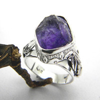 Raw amethyst ring sterling silver, raw stone artisan ring, rough dark purple amethyst raw gemstone ring size 8, February birhstone