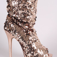 Liliana Sequin Slouchy Peep Toe Stiletto Ankle Boots