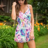Tropical You Later Romper, Pink
