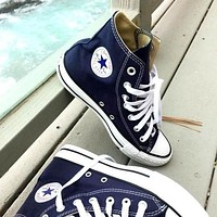 Converse Fashion Canvas Flats Sneakers Sport Shoes High tops Navy blue