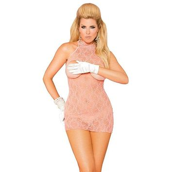 Queen Size Pearl Desire Cupless Halter Lace Dress