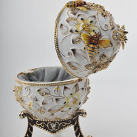 Keren Kopal's White Faberge Egg Handmade Decorated with Bees and Flowers with Swarovski Crystals Enamel Paint Gold Plated