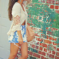 Pleated Peace Lace Top: Ivory   Hope's