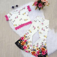 US Newborn Toddler Infant Kid Baby Girl Clothes Flower Top Long Pants Outfit Set