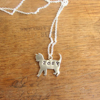 Custom name sterling silver cat necklace, personalized jewelry, animal pet necklace.