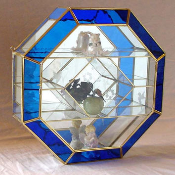 OCTAGON Shaped Brass and Glass Curio Cabinet with Dark Blue Stained Glass Trim and etching Door