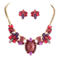 Red And Purple Crystal Stone Jewelry Set