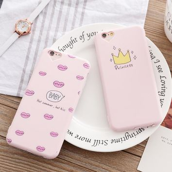 Phone Case for iphone 5 5s SE 6 6s 7 8 PLus Princess Crown Girl Cute Design Printing Soft Silicone Case For iphone 6 6s 7 8 case
