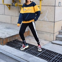 """Champion"" Women Contrast Color Bright All-match Stripe Fashion Letter Logo Embroidery Long Sleeve Sweater Tops"