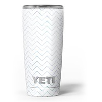 White and Thin Blue Chevron Pattern - Skin Decal Vinyl Wrap Kit compatible with the Yeti Rambler Cooler Tumbler Cups