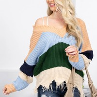 Morning Coffee Stripes Frayed Sweater