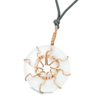 Positive Energy Sun Eternity Circle Rose-Gold-Tone Snow White Sea Glass Donut Amulet Necklace