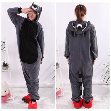 Animal Gray Raccoon Racoon Cosplay Pajamas Adult Carnival Halloween Onesuit  Pajamas Cosplay Costume Jumpsuit Hoodies Sleepwear