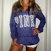 victoria s secret pink women s fashion letter print hooded long sleeves pullover tops sweater