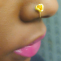 Fake nose ring - faux nose ring - faux piercing - fake nose hoop - fake piercing - faux nose hoop - faux piercing - rose- flower