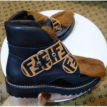 Fendi Black Leather Black Brown Horse Hair Flat Bottomed Boots