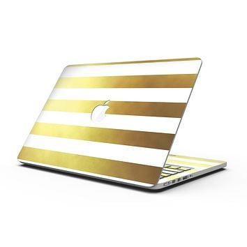 The Gold and White Horizontal Stripes - MacBook Pro with Retina Display Full-Coverage Skin Kit