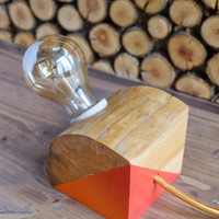 Wood lamp, reclaimed - unique and simple minimalist, industrial home decor, gift for housewarming, birthday, as table, desk or bedside lamp