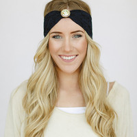 Bohemian NAVY Lace Turban Headband with Vintage Brooch Women's Boho Head Wrap with Floral Gold Button (HB-LCE-B)