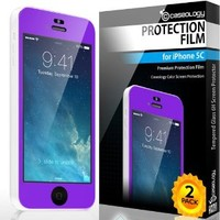 iPhone 5C Screen Protector, Caseology [HD Clarity] Apple iPhone 5C Screen Protector [2-Pack] [Purple] [3-Month Warranty] Color Film [Crystal Clear] Front Screen Protection iPhone 5C Screen Protector (for Apple iPhone 5C Verizon, AT&T Sprint, T-mobile, Unlo