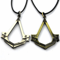 New Assassins Creed Necklace the Antique Silver Cosplay Pendant Game Accessories With Leather Rope