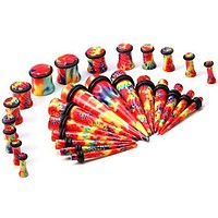 Gauges Kit 24 Pieces of Plugs and Tapers Tie Dye 8G-00G Gauges Kit Piercing Jewelry  Ear Stretching Set