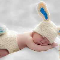 The Bunny Diaper cover and hat set by OverTheMoonHatDesign on Etsy