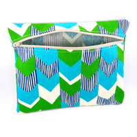 Geometric Chevron In Aqua and Green Folded Top Pencil Case or Makeup Bag, Unisex, Long, Zippered, Travel, School or Work