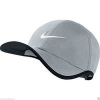 Nike Unisex Feather Light Adjustable Hat, Grey/Black, One Size (Adjustable)