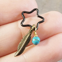 Black Star Cartilage Hoop Beaded Earring with Turquoise and Gold Feather Boho Tragus Helix Piercing