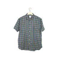 LUCKY BRAND plaid button down shirt - short sleeve shirt - green - mens slim fit