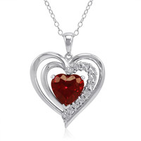 Sterling Silver Heart Shape Created Ruby and Diamond Pendant-Necklace (3ct tw)