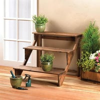 3-Tier Rich Brown Fir Wood Step Up Steps Plant Display Stand Shelf