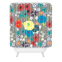 Vy La Bloomimg Love Gray Shower Curtain